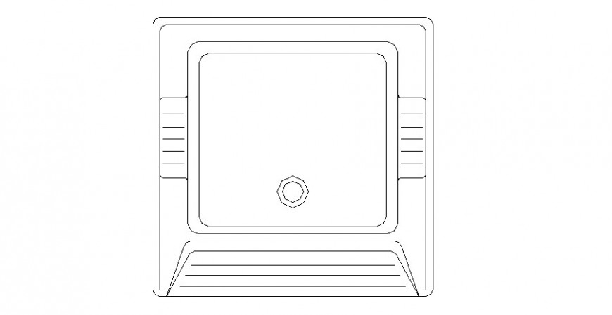 Washing tub top view elevation block cad drawing details dwg file