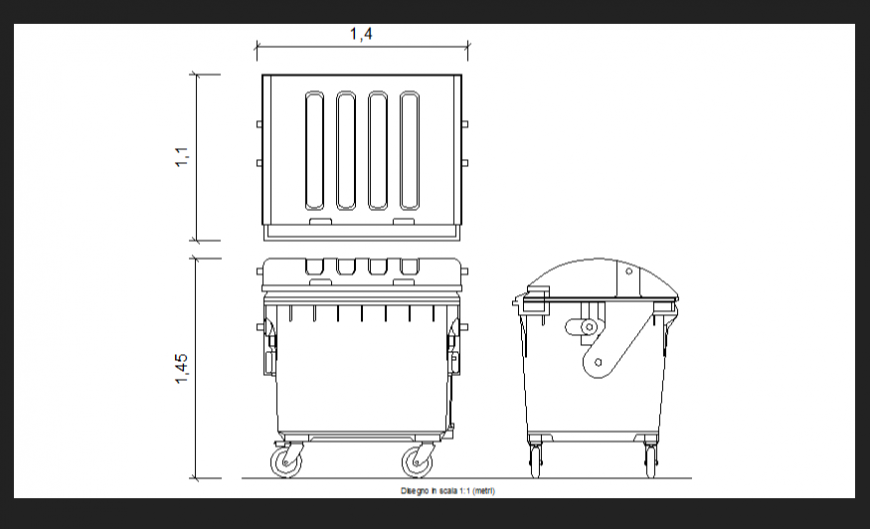 Waste boxes plan, elevation and side view dwg file
