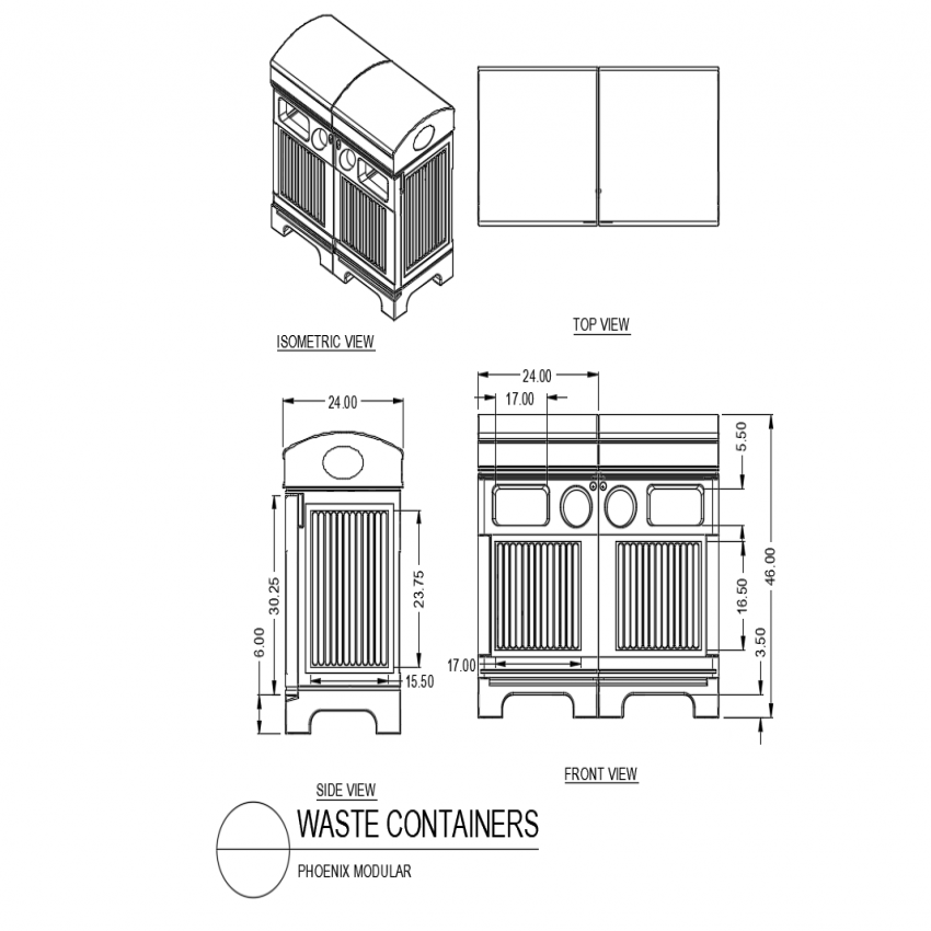 Waste container top,side and front view with isometric view dwg file
