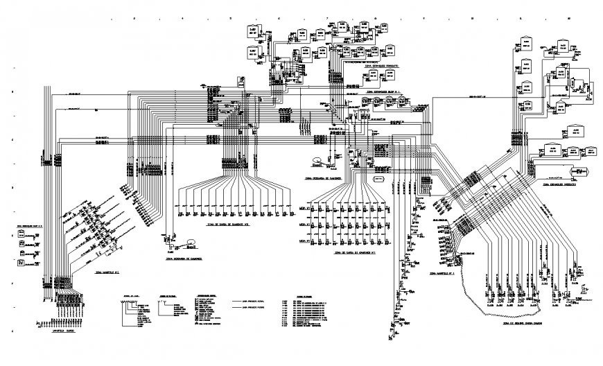 Water distribution detail plan 2d view layout file in dwg file