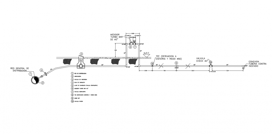 Water distribution system 2d view cut out section autocad file