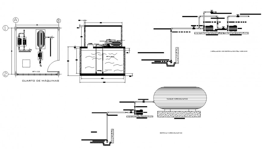 Water distribution tank building detail plan and section 2d view layout file