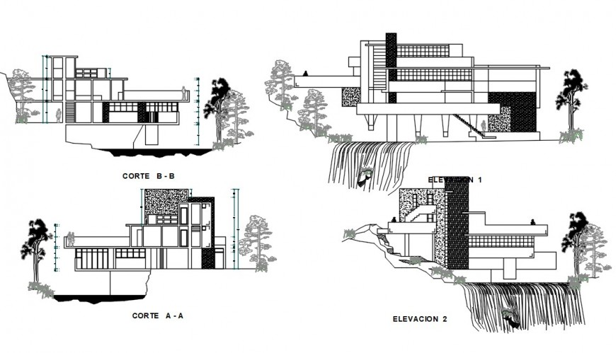Water falling house drawing cad file