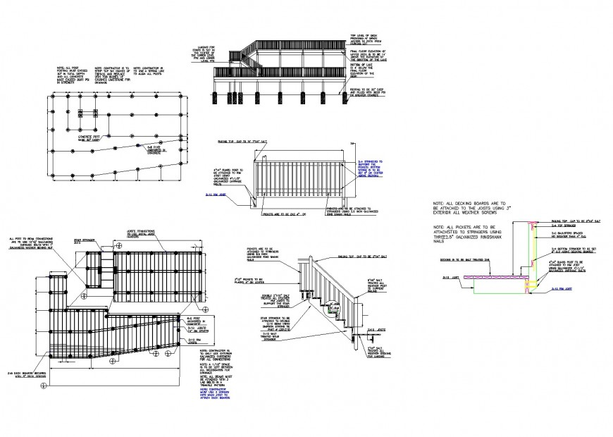 Water front hotel foundation and handrail detail dwg file