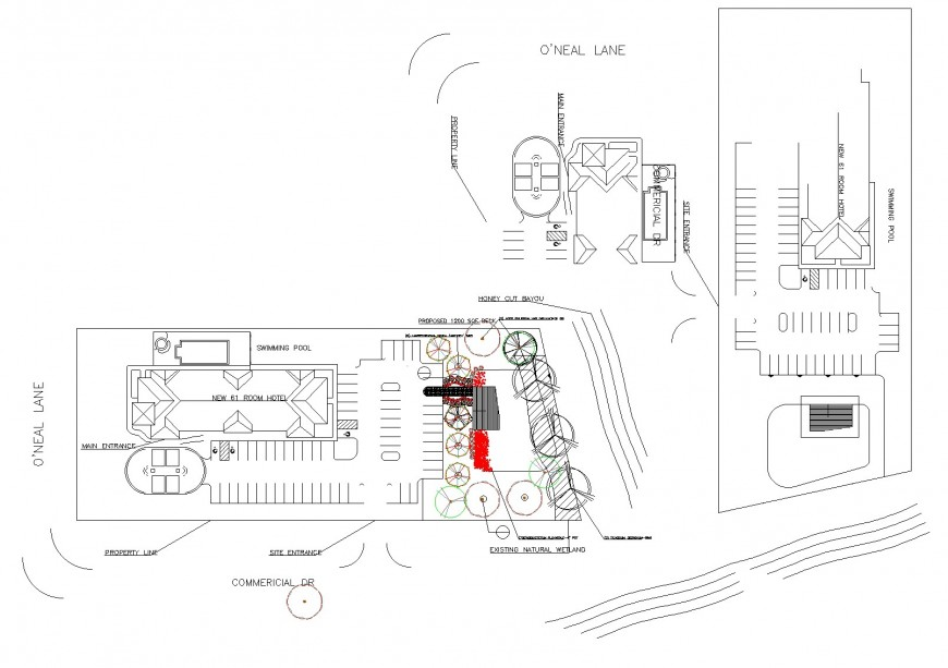 Water front hotel pool side deck and multi level board walk layout file