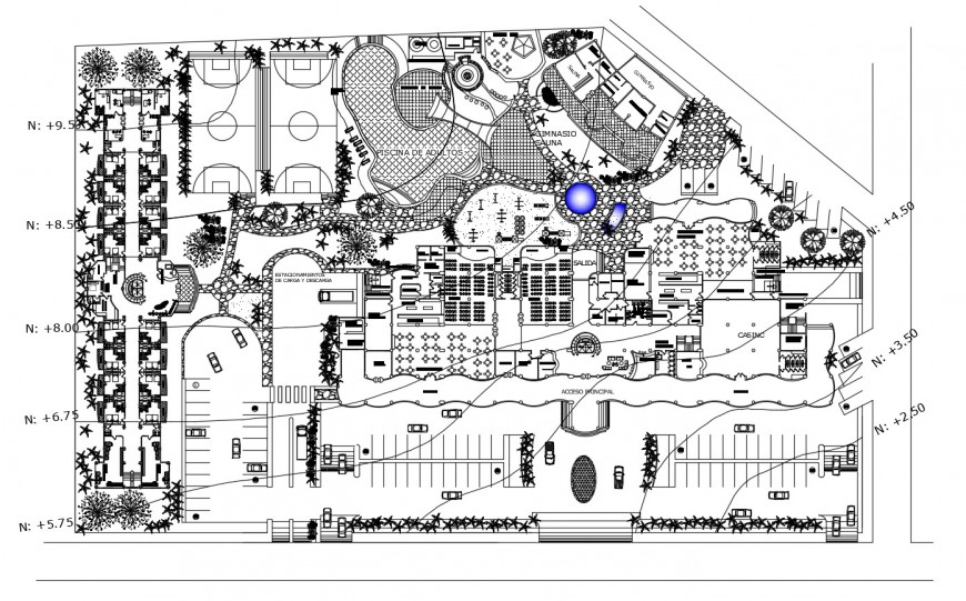 Water line installation in hotel plan in auto cad software