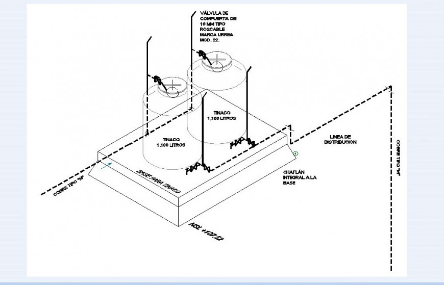 Water line with tank detail in auto cad file