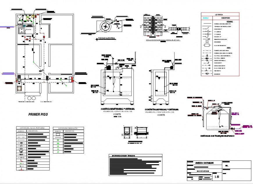 Water pipe line and tank house detail dwg file