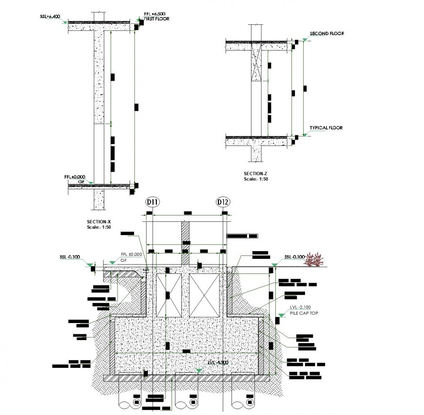 Water pipe line chamber section plan