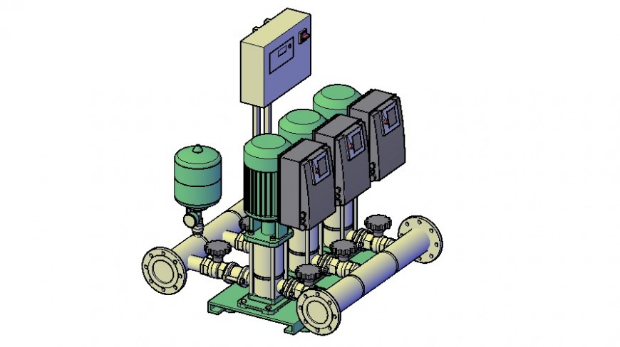 Water pump 3d electrical machine model drawing details dwg file