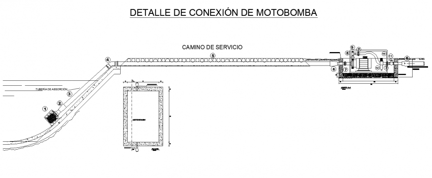 Water pump installation for irrigation system detail 2d view layout dwg file