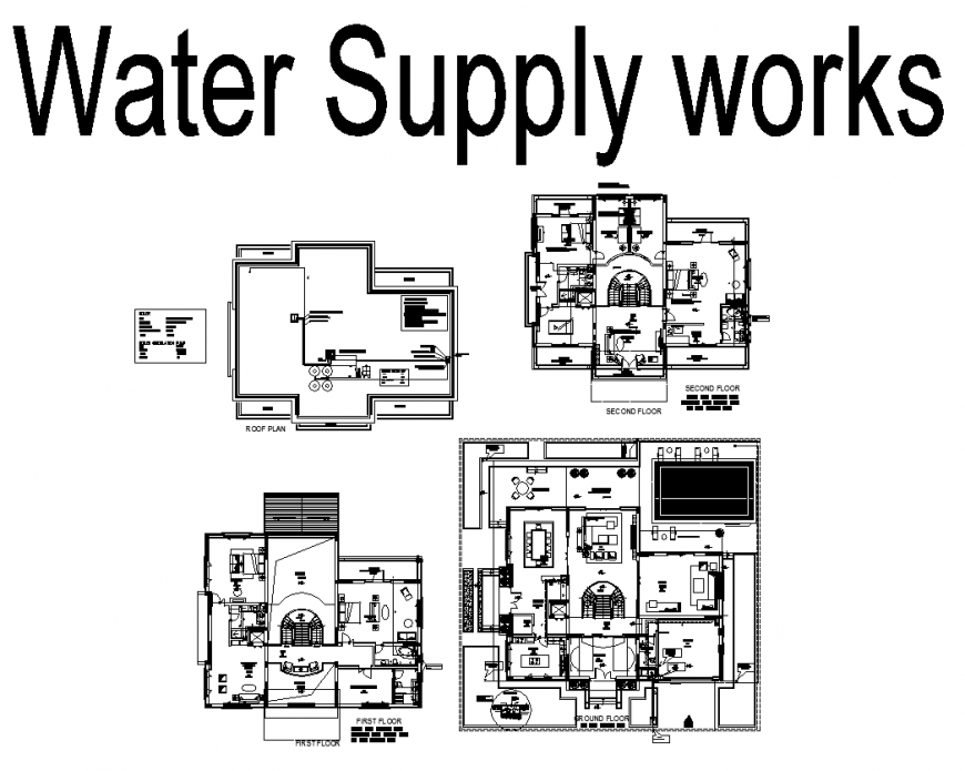 Water supply works detail elevation 2d view dwg file