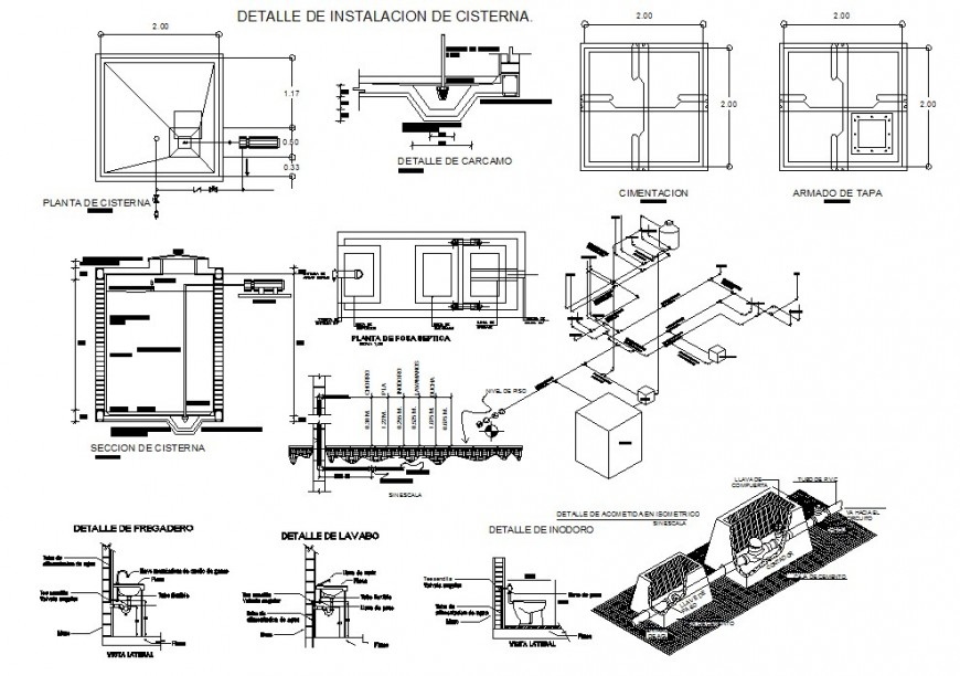 Water tank installation with hydraulic system and its isometric in auto cad
