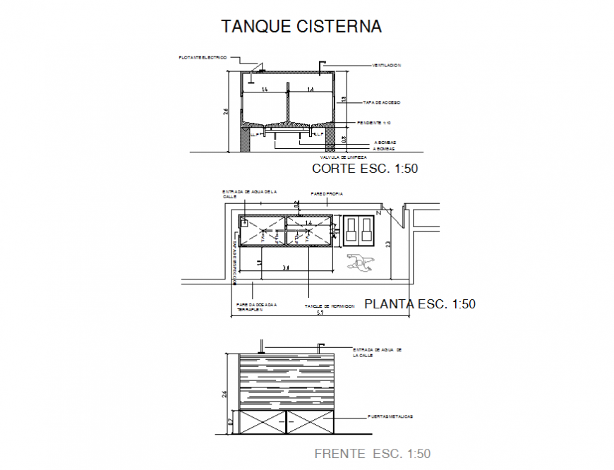 Water tank section, plan and constructive plumbing details dwg file