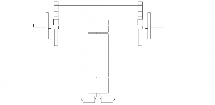 Weight lifting equipment design view with its support system design dwg file