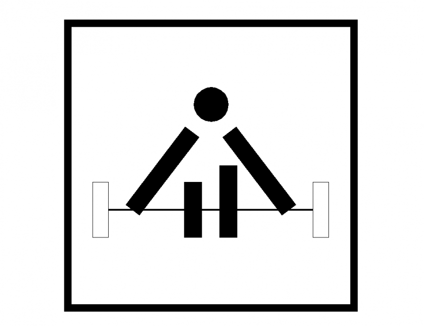 Weight lifting sign and symbol 2d view layout file in autocad format