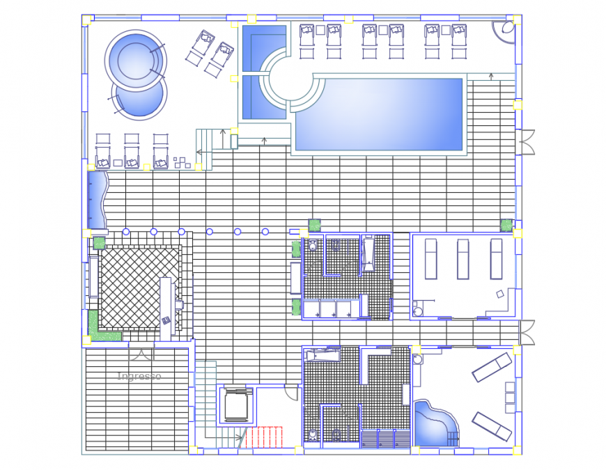 Wellness health center architecture layout plan details dwg file