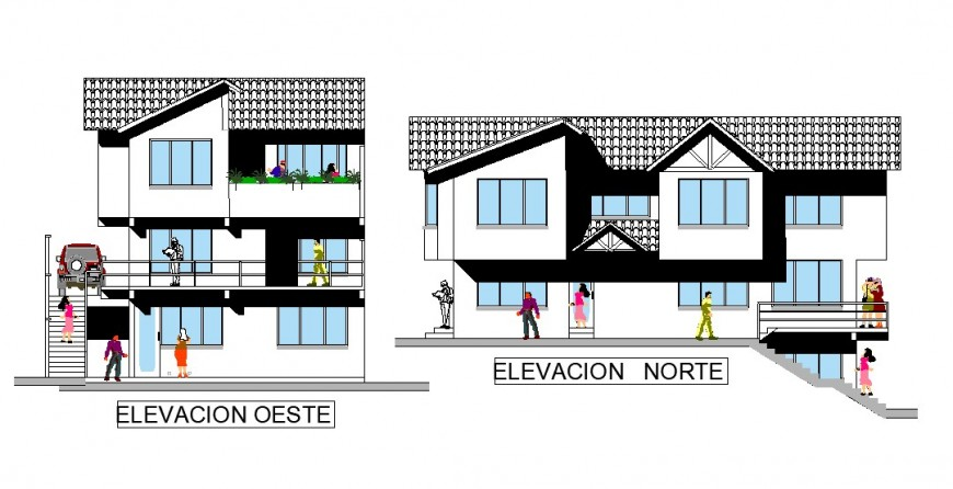 West and north elevation design with detail of architectural work of home dwg file