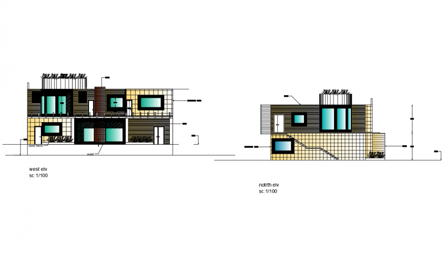 West and north elevation details of two story villa house dwg file