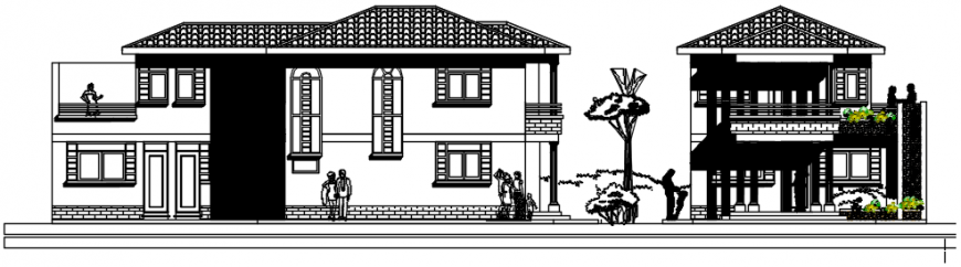 West elevation of housing area in AutoCAD file
