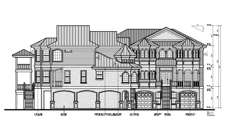 West side design of architectural part of bungalows dwg file