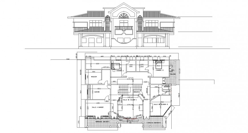 Western architecture style bungalow drawing in dwg AutoCAD file.