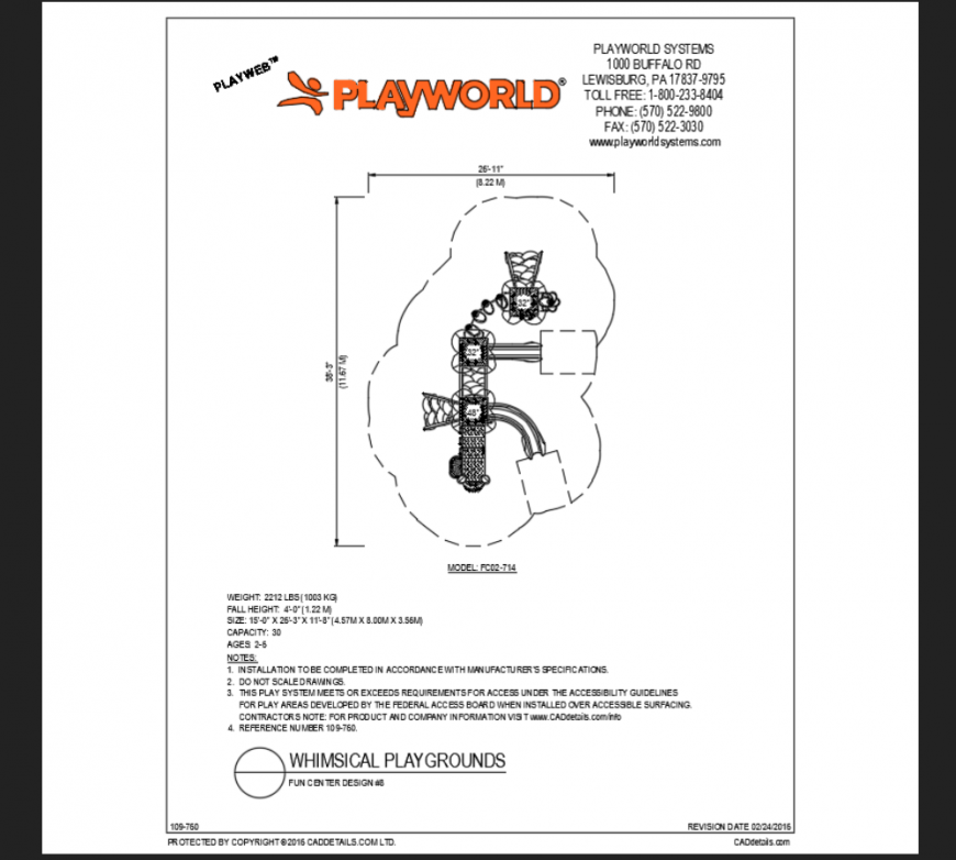Whimsical kids play theme park top view model structure details dwg file