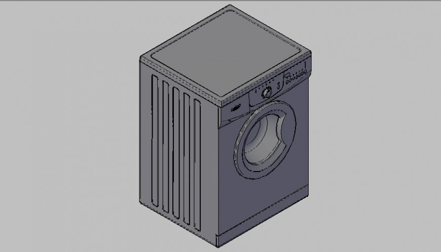 Whirlpool washing machine 3d elevation block cad drawing details dwg file