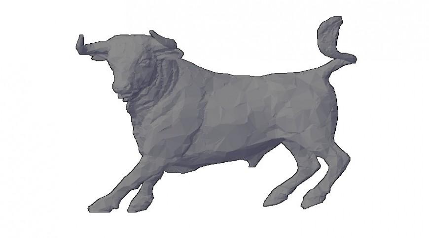Wild bull drawings details of animal blocks 3d model autocad file autocad