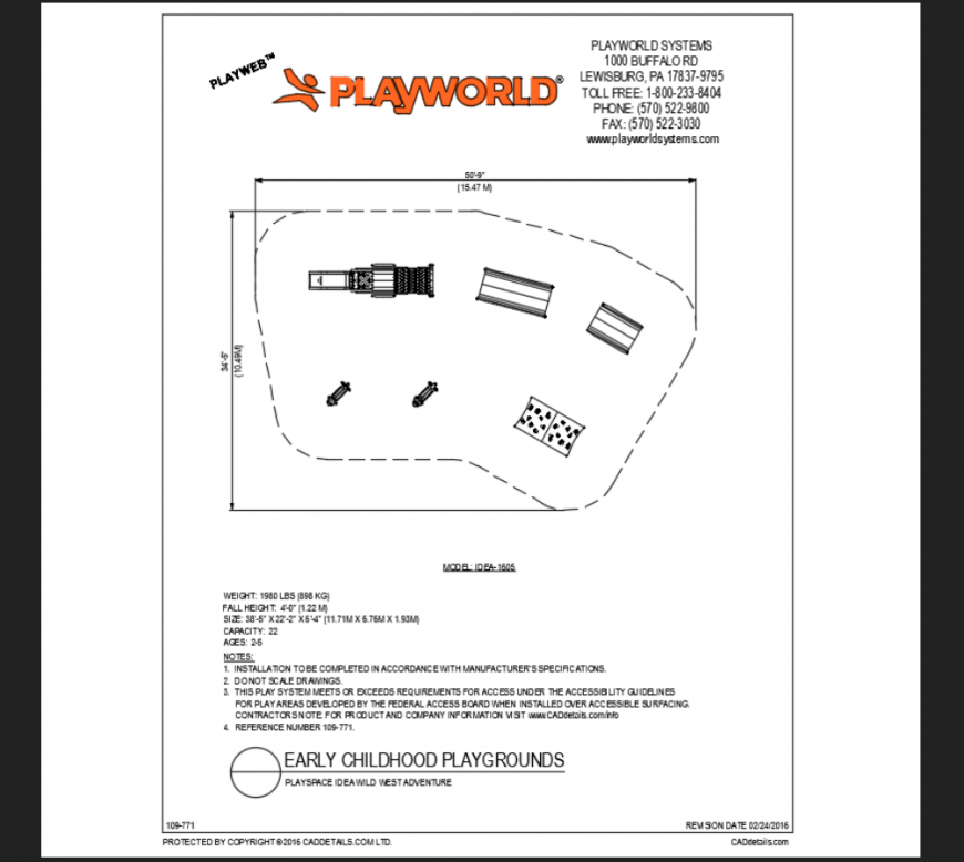 Wild west adventure play space play area equipment details of theme park dwg file