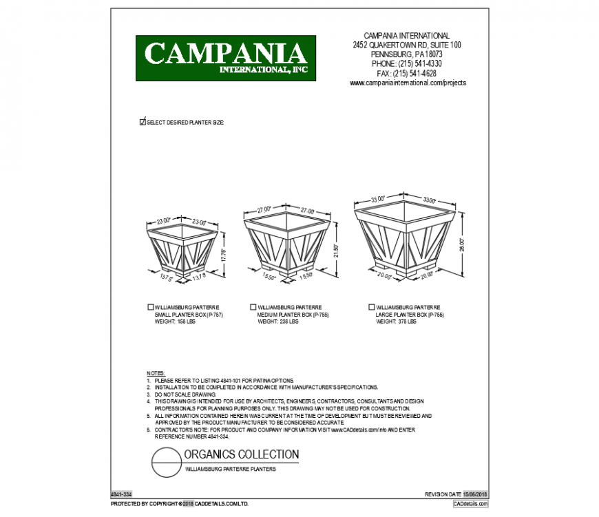Williams-burg parterre planter set cad blocks design dwg file