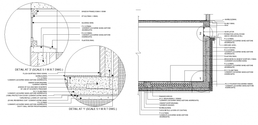 Window and door joinery section details in dwg file.