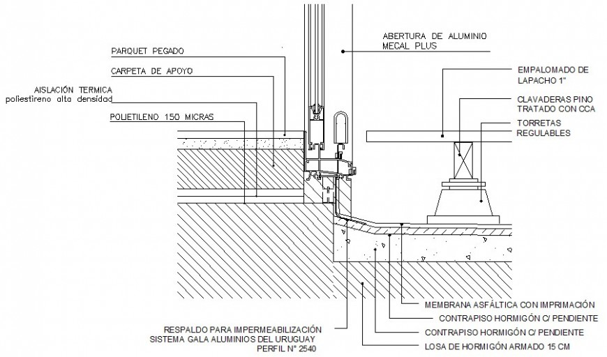 Window and waterproofing details of structure drawings 2d view autocad file