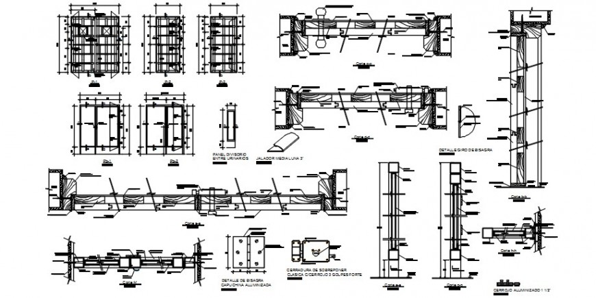 Window blocks drawings elevation and section detail dwg file