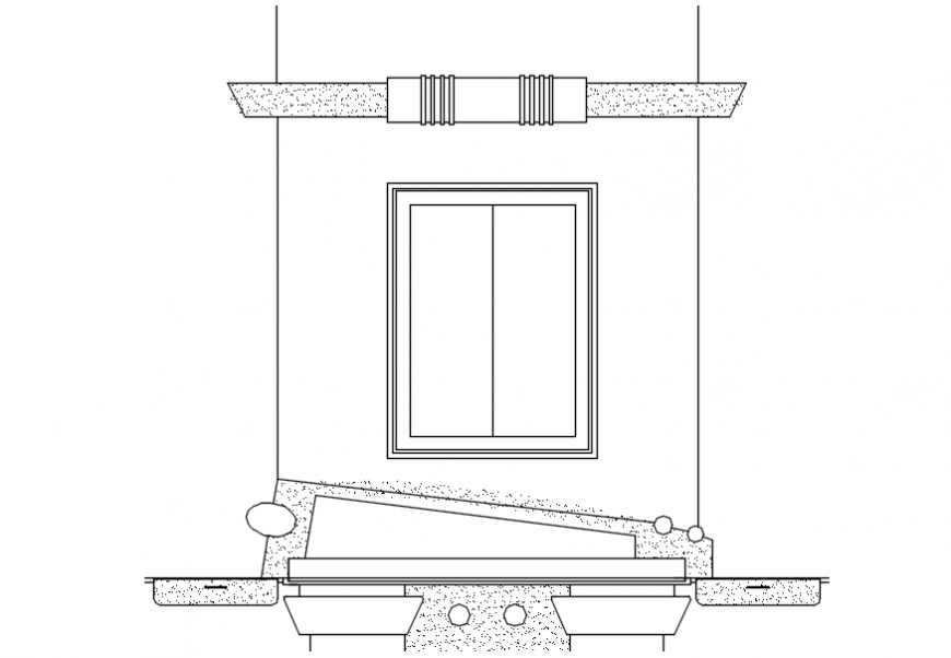 Window elevation with furniture cad drawing details dwg file