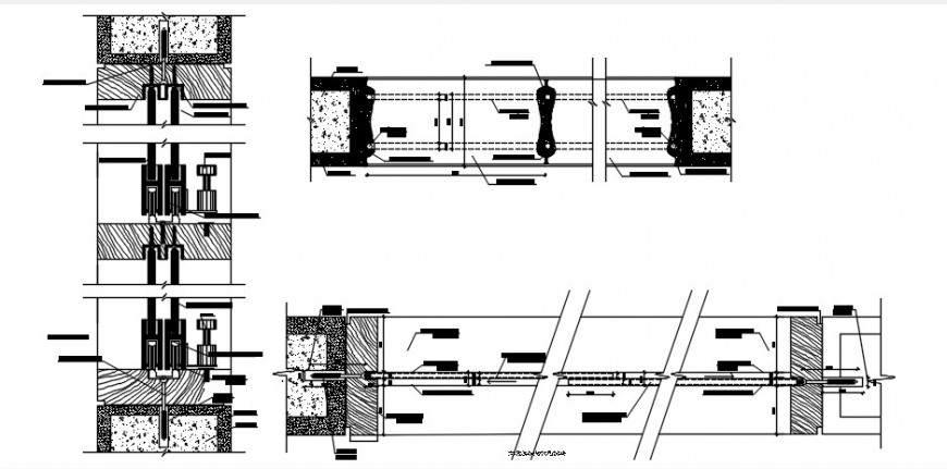 Window frame and coupling with installation drawing details dwg file