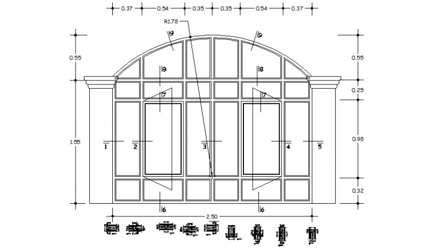 Window frame design drawings 2d view elevation autocad file