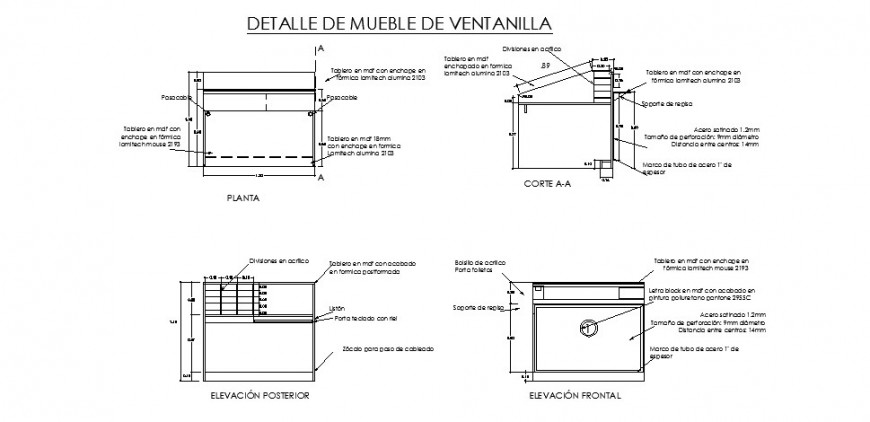 Window furniture and installation details of office building dwg file