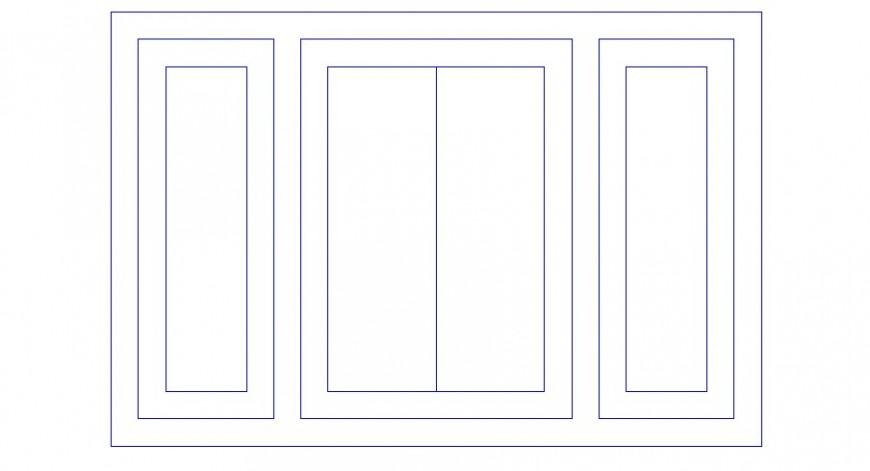 Window units design detail elevation 2d view autocad file