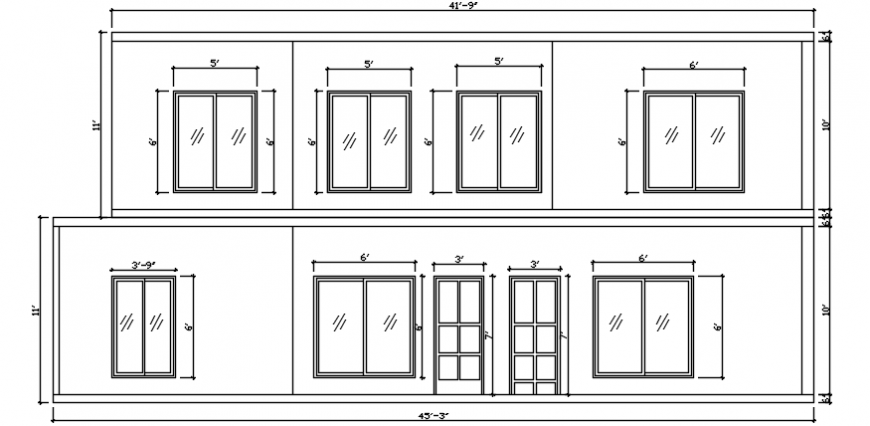Windows and doors exterior view located in house dwg file