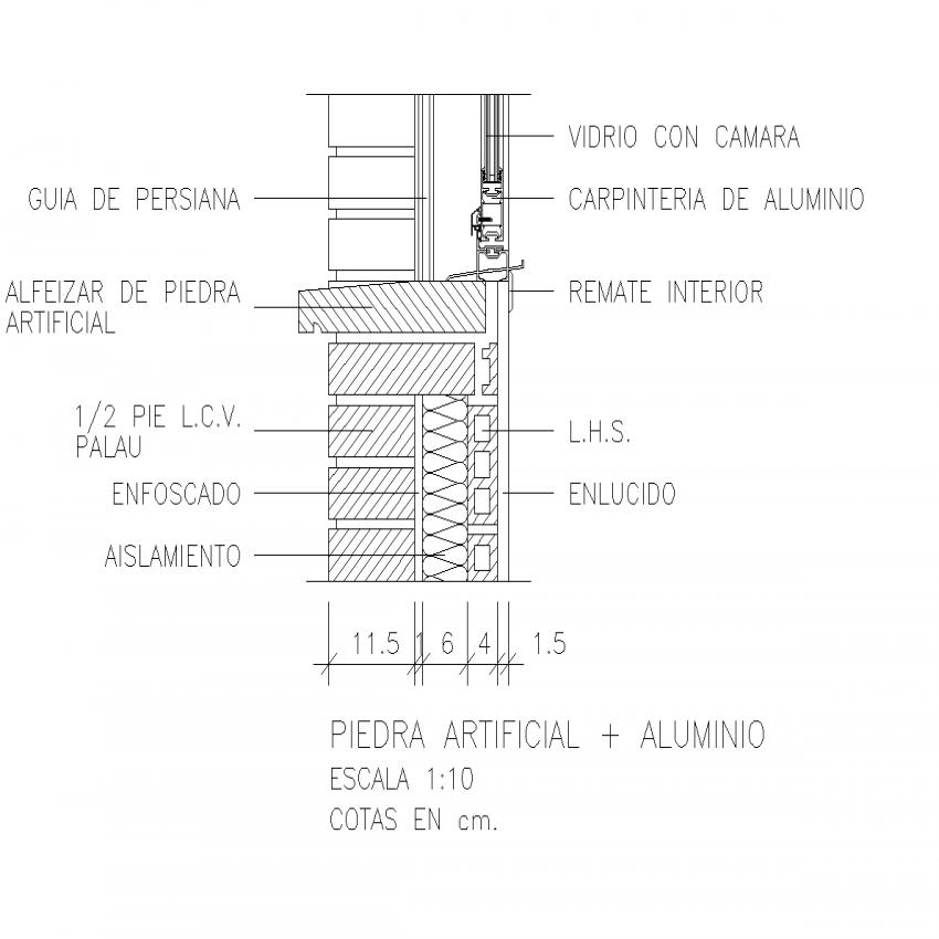 Windowsill section plan detail dwg file