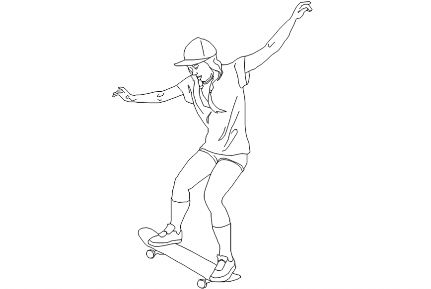 Woman riding a skateboard doing a trick 2d people