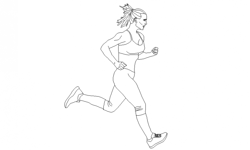 Woman running seen from the side people cad block details dwg file