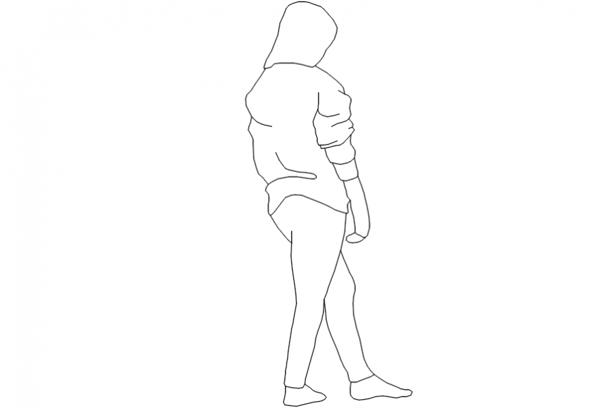 Woman standing seeing her from behind cad blocks