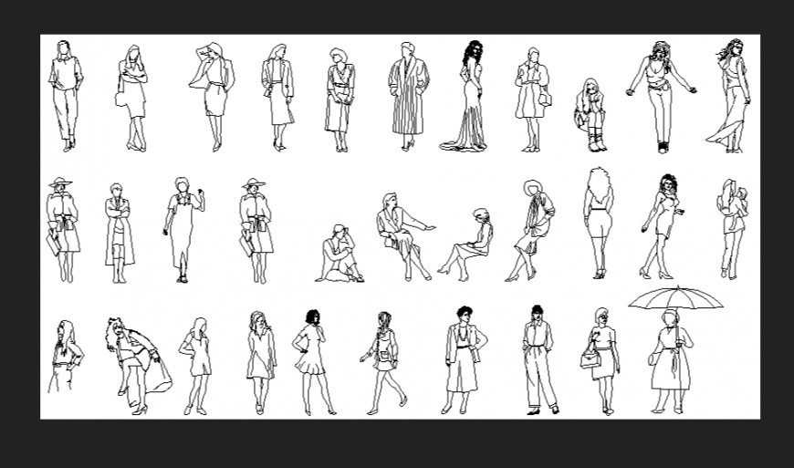 Women and girls different style block dwg file