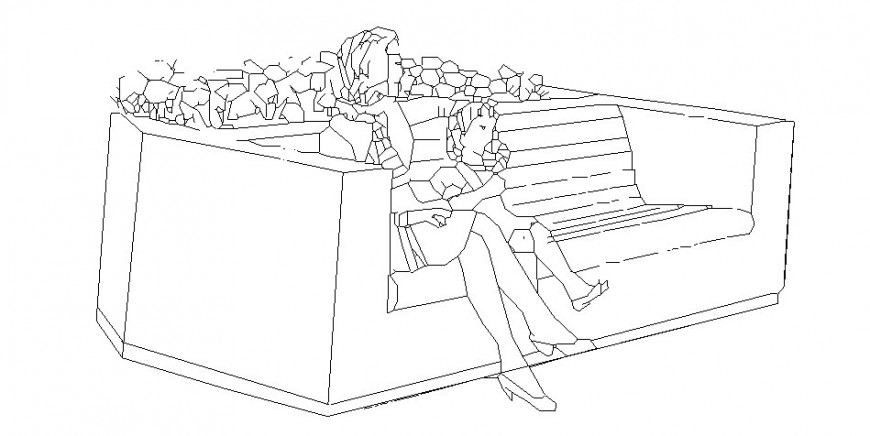Women seating on bench with girl cad drawing details dwg file