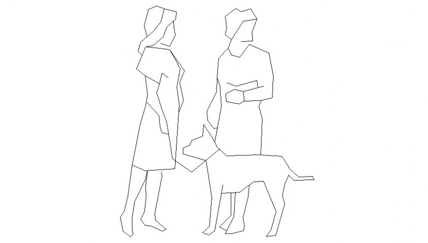 Women with dog in people block of AutoCAD file
