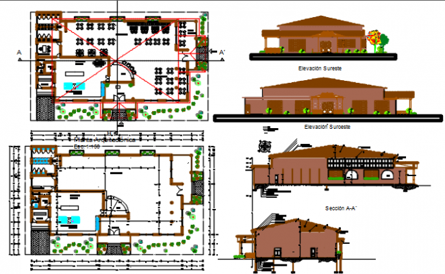 wood restaurant dwg file