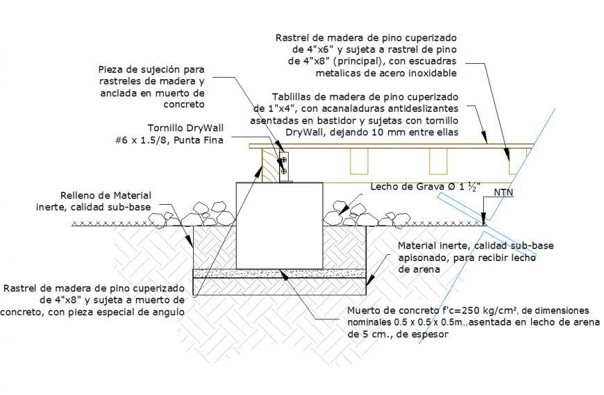 Wood deck section plan autocad file