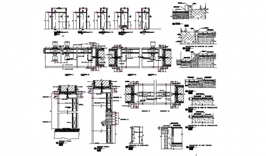 Wood doors and frame Openings and iron works details dwg file